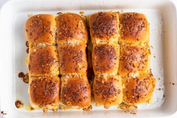 Chicken parm sliders in baking dish