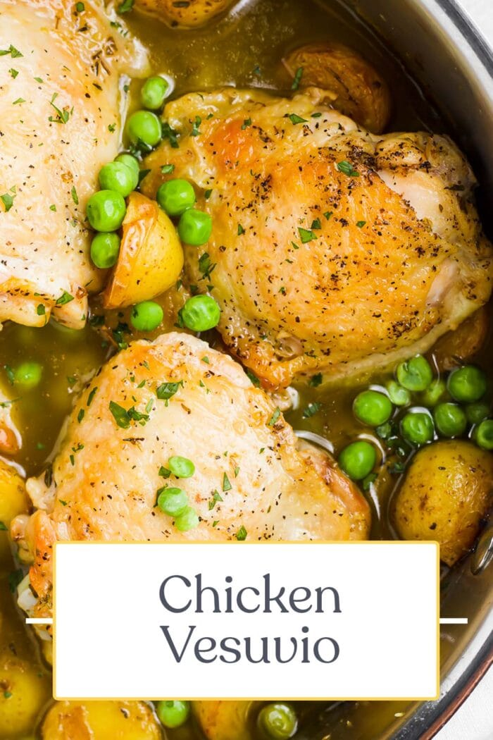 Pin graphic for chicken vesuvio