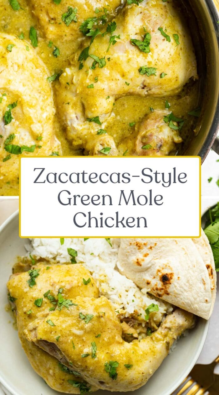 Pin graphic for green mole chicken