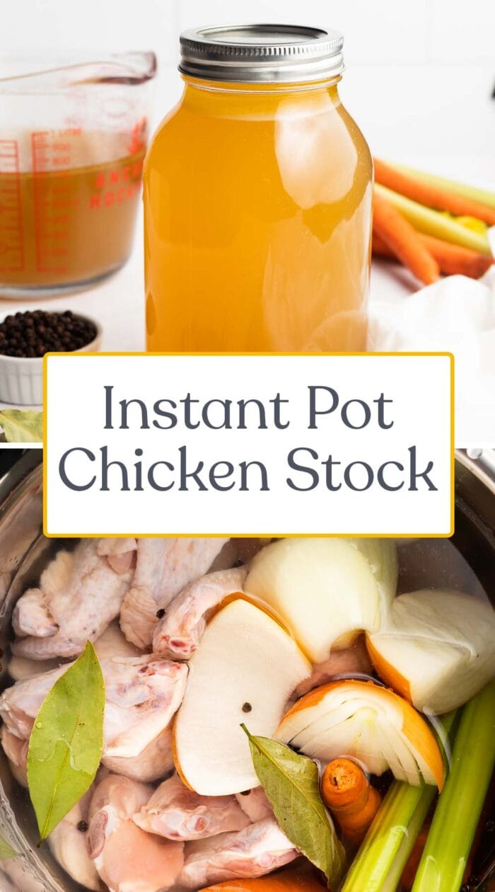 Pin graphic for Instant Pot chicken stock