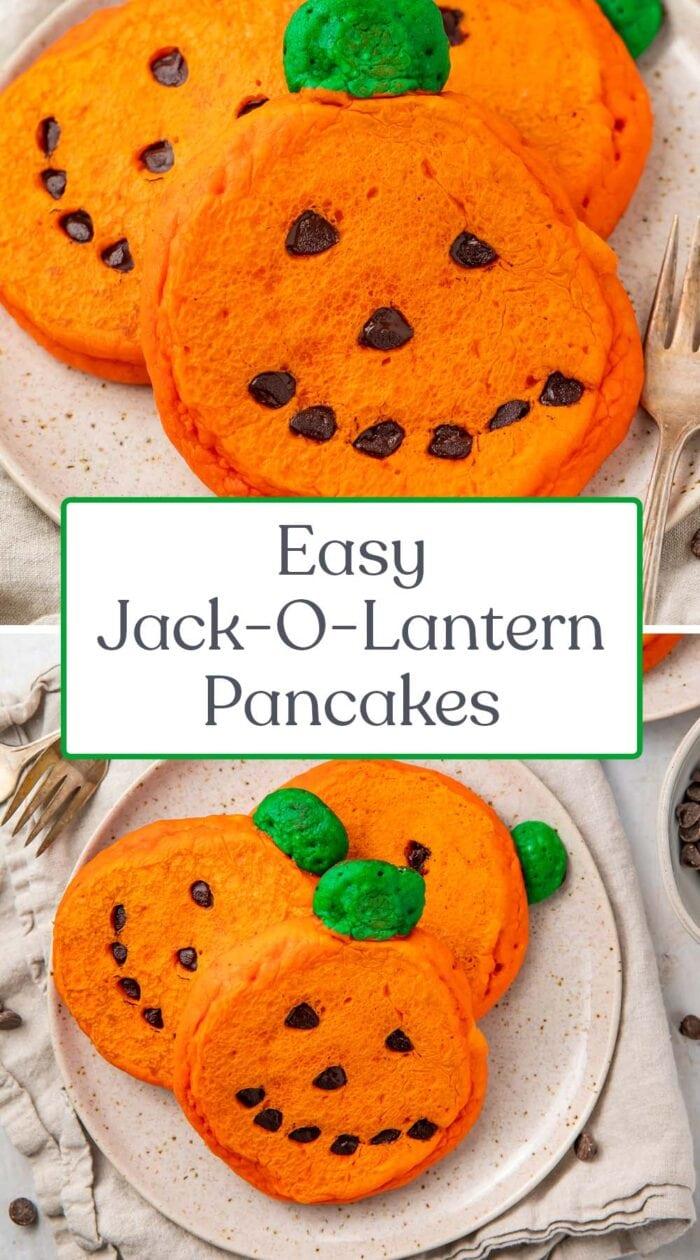 Pin graphic for jack-o-lantern pancakes