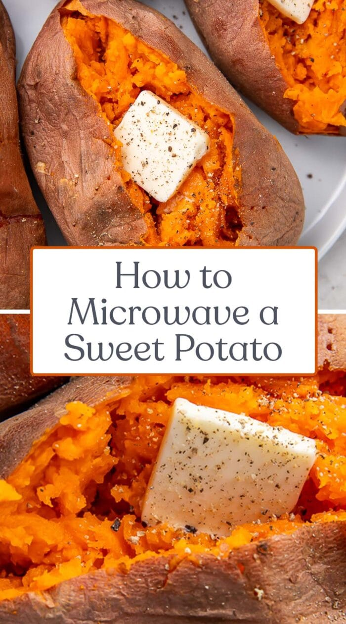 Pin graphic for microwave sweet potato