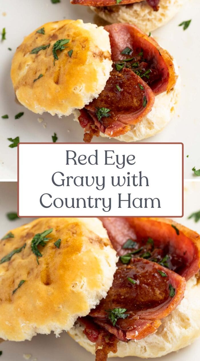 Pin graphic for red eye gravy