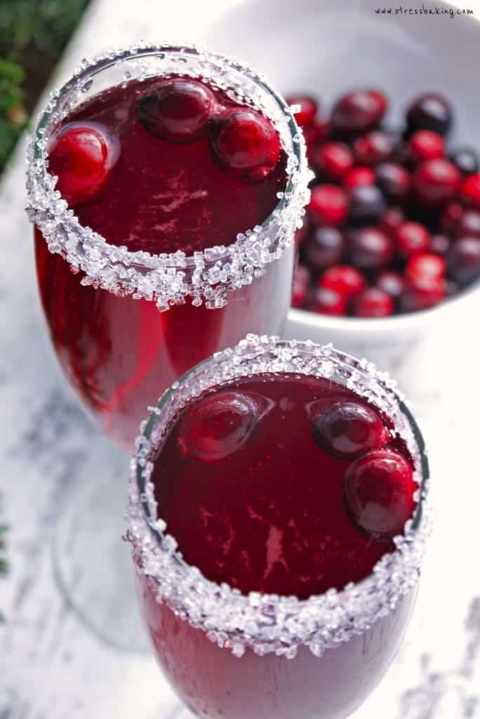 Cranberry mimosas in fluted glasses from Stress Baking